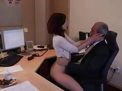 Horny young secretary is fucking her boss hard